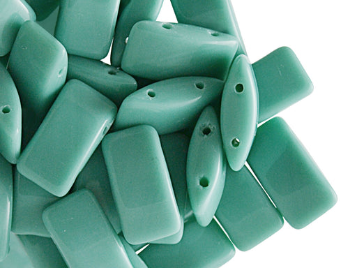 30 pcs Carrier Pressed Beads with Two Holes, 9x17mm, Czech Glass, Opaque Turquoise Green