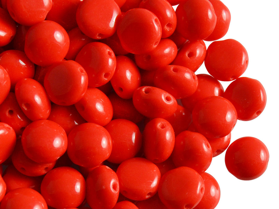 30 pcs 2-hole Candy™ Beads Preciosa Ornela, 8mm, Red Opaque (Coral Red), Czech Glass