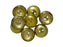 4 pcs 2-hole Cup Button Beads, 14mm, Crystal Amber (Crystal Half Aurum Coating), Pressed Czech Glass