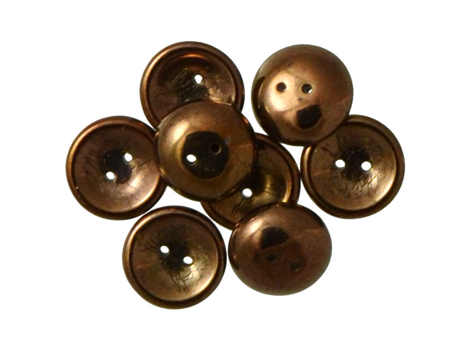4 pcs 2-hole Cup Button Beads, 14mm, Jet Bronze Luster, Pressed Czech Glass