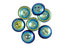 4 pcs 2-hole Cup Button Beads, 14mm, Jet Full AB, Pressed Czech Glass