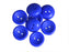 4 pcs 2-hole Cup Button Beads, 14mm, Opaque Blue, Pressed Czech Glass