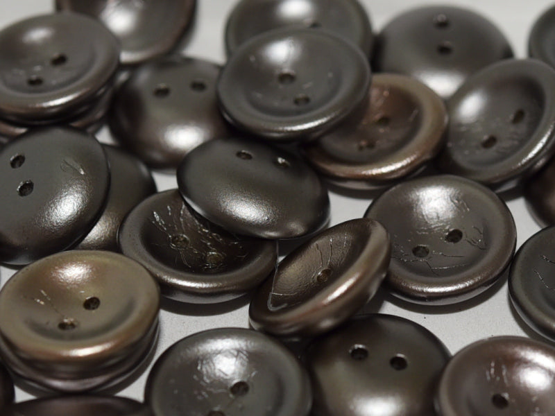 4 pcs 2-hole Cup Button Beads, 14mm, Zinc Iris, Pressed Czech Glass