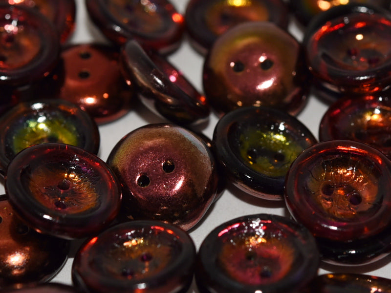 2-hole Cup Button Beads, 14mm, Crystal Magic Wine, Pressed Czech Glass, Pressed Czech Glass