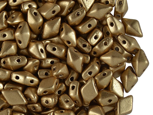 30 pcs 2-hole DiamonDuo™ Beads, 5x8mm, Dark Gold Matte, Pressed Czech Glass