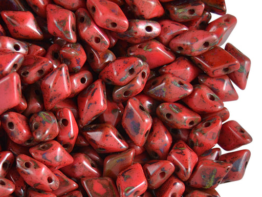 30 pcs 2-hole DiamonDuo™ Beads, 5x8mm, Coral Picasso, Pressed Czech Glass