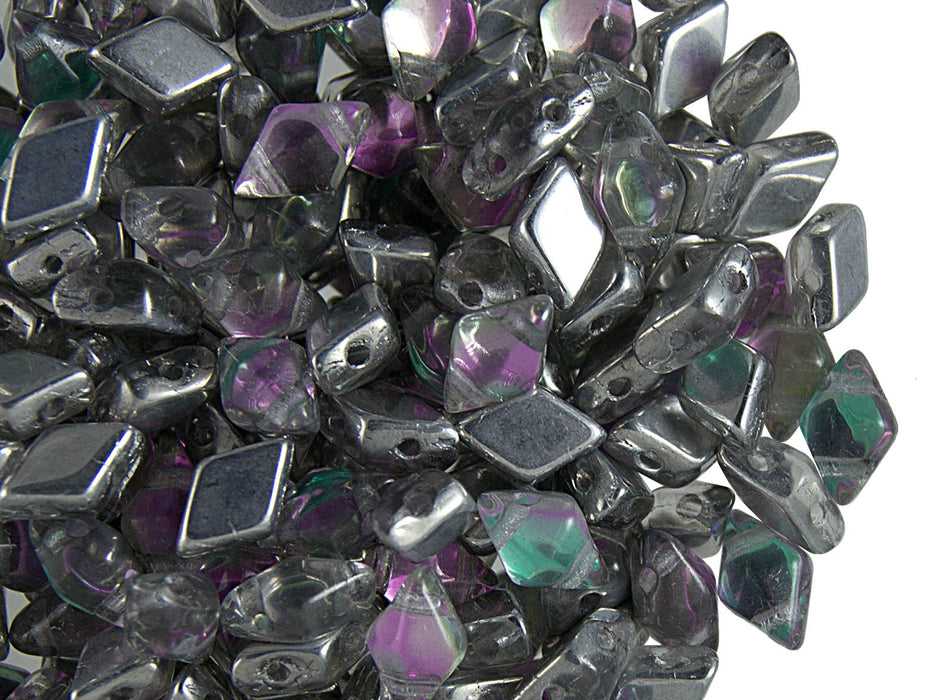 30 pcs 2-hole DiamonDuo™ Beads, 5x8mm, Prismatic Lcicle, Pressed Czech Glass
