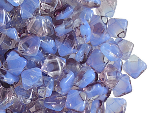 30 pcs 2-hole Silky Beads Dia, 6x6mm, Transparent Violet White Strips, Pressed Czech Glass