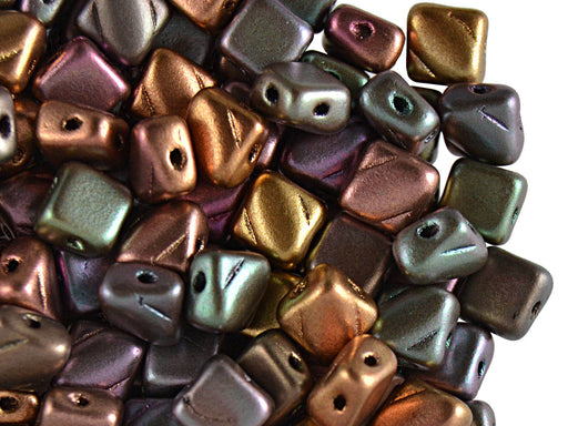 30 pcs 2-hole Silky Beads Dia, 6x6mm, Purple Iris Gold, Pressed Czech Glass