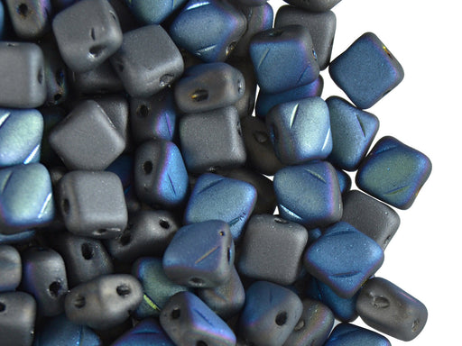 30 pcs 2-hole Silky Beads Dia, 6x6mm, Glittery Matte Graphite, Pressed Czech Glass