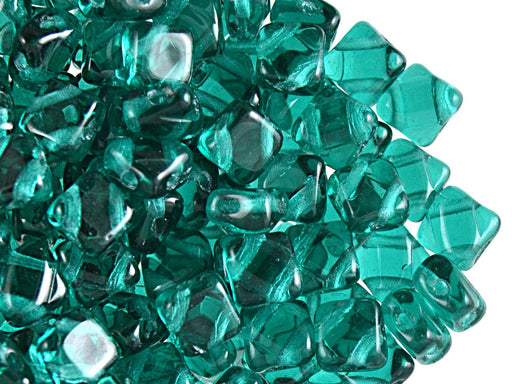 30 pcs 2-hole Silky Beads Dia, 6x6mm, Malachite, Pressed Czech Glass