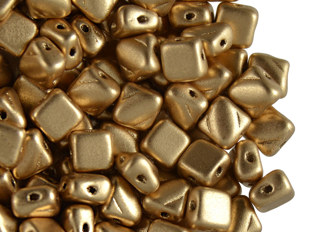 30 pcs 2-hole Silky Beads Dia, 6x6mm, Aztek Gold, Pressed Czech Glass