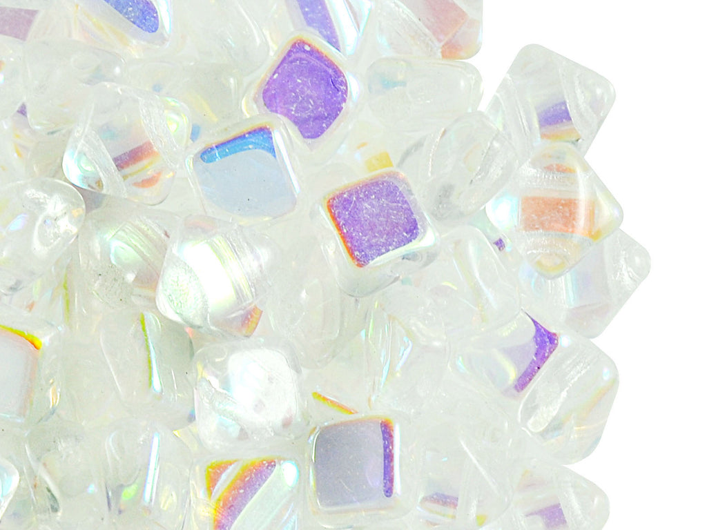 30 pcs 2-hole Silky Beads Dia, 6x6mm, Crystal AB, Pressed Czech Glass
