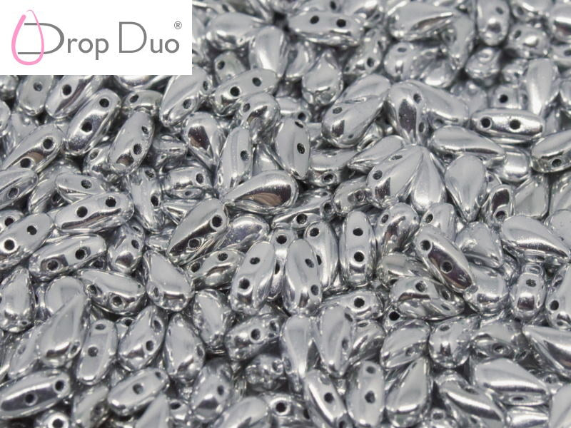 50 pcs 2-hole DropDuo® Beads, 3x6mm, Crystal Full Chrome, Czech Glass