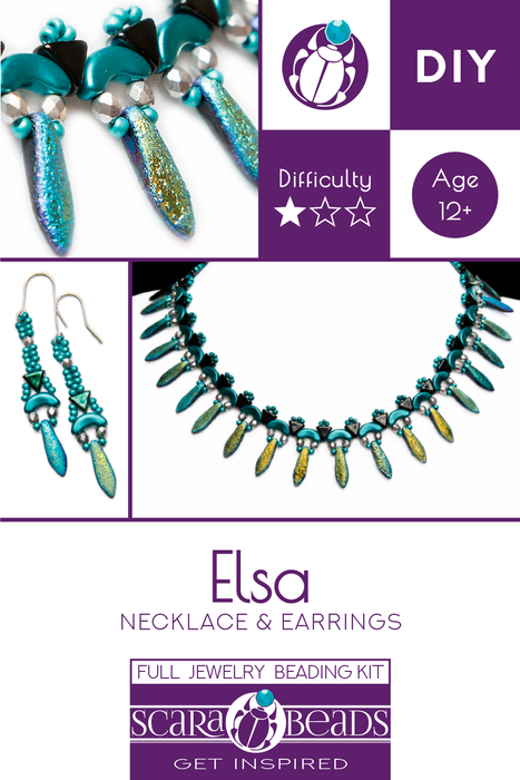 Elsa - DIY Beading Kit For Jewelry Making (Necklace&Earrings), Etched Blue Turquoise, Czech Glass Beads
