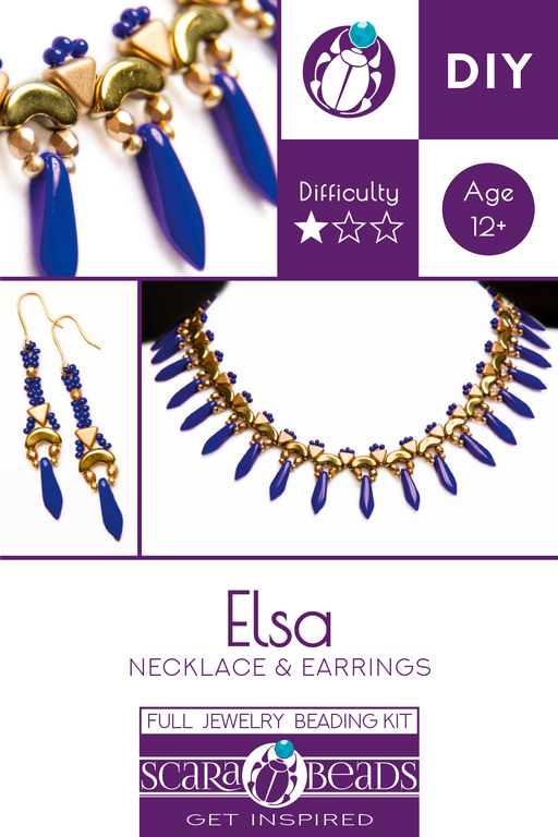 Elsa - DIY Beading Kit For Jewelry Making (Necklace&Earrings), Deep Blue Gold, Czech Glass Beads