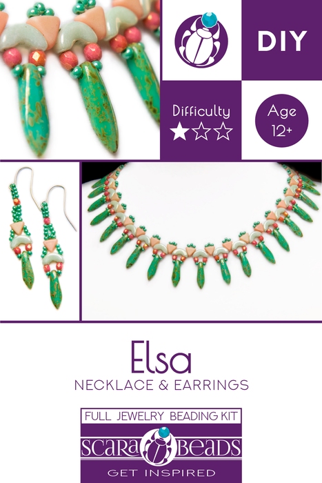 Elsa - DIY Beading Kit For Jewelry Making (Necklace&Earrings), Green White Pink, Czech Glass Beads