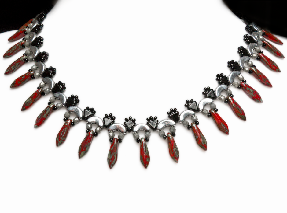 Elsa - DIY Beading Kit For Jewelry Making (Necklace&Earrings), Red Travertine Black Silver, Czech Glass Beads