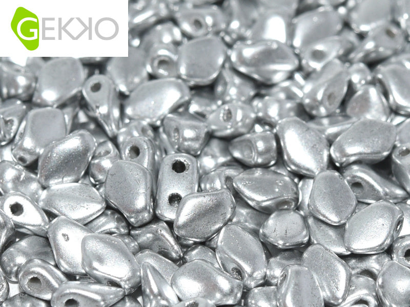 10 g Gekko® Beads, 3x5mm, Aluminum Silver, Czech Glass