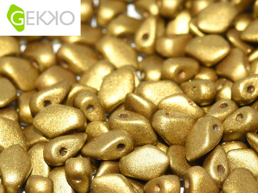 10 g Gekko® Beads, 3x5mm, Olive Gold, Czech Glass