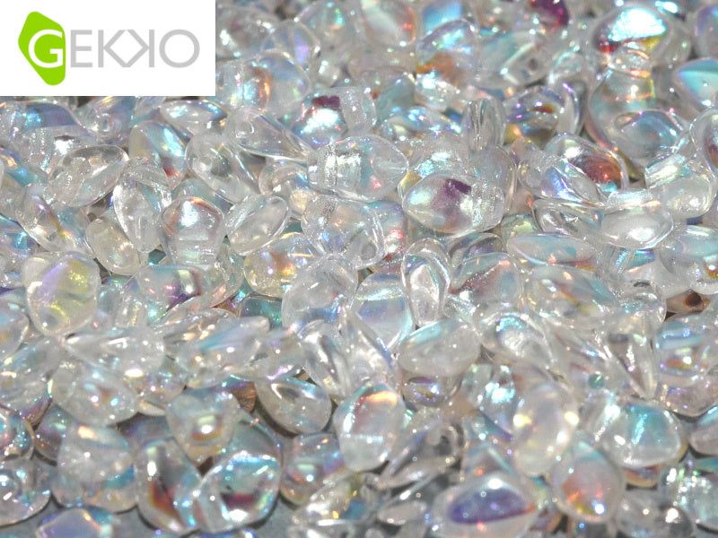 10 g Gekko® Beads, 3x5mm, Crystal AB, Czech Glass