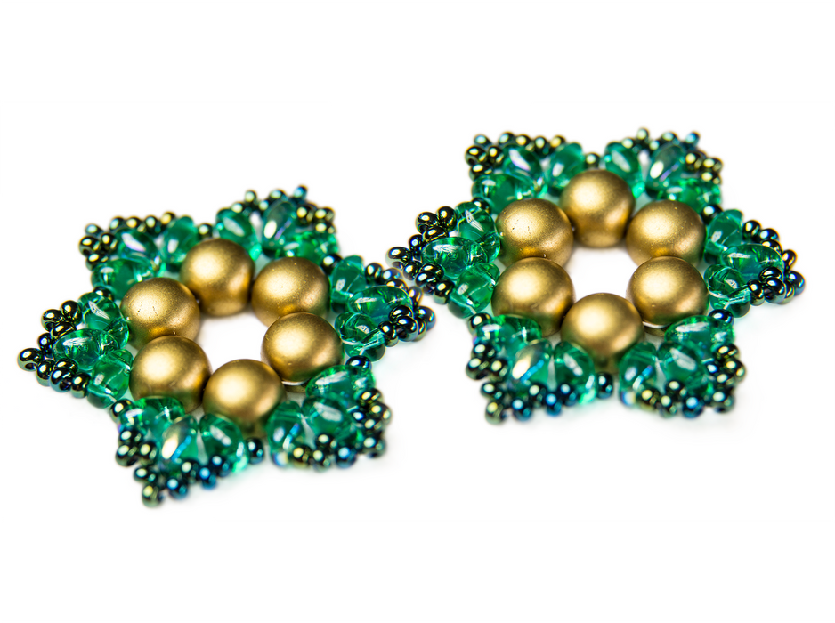 Exclusive DIY Beading Kit For Making Jewelry Snowflake 2pcs, Gold Green, Czech Glass Beads