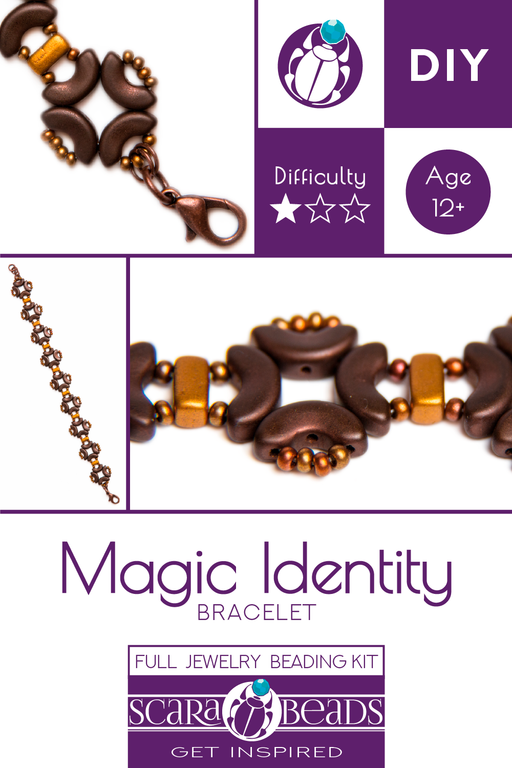 1 pc DIY Beading Kit for Jewelry Making (Bracelet) Magic Identity, Brown Gold, Czech Glass Beads