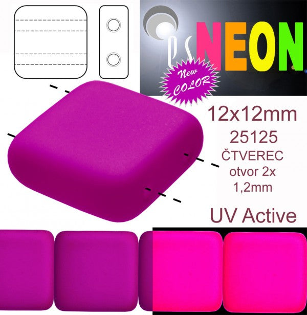 2-hole Tile NEON Beads, 12x12x4.5mm, Purple, Czech Glass