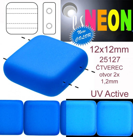 7 pcs 2-hole Tile NEON Beads, 12x12x4.5mm, Blue, Czech Glass