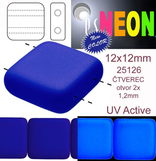 7 pcs 2-hole Tile NEON Beads, 12x12x4.5mm, Dark Blue, Czech Glass