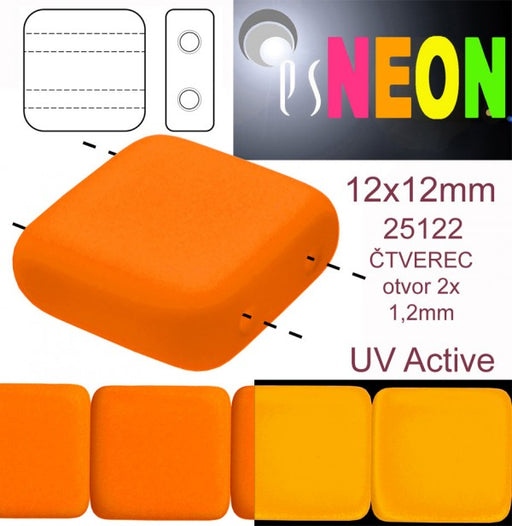 7 pcs 2-hole Tile NEON Beads, 12x12x4.5mm, Orange, Czech Glass