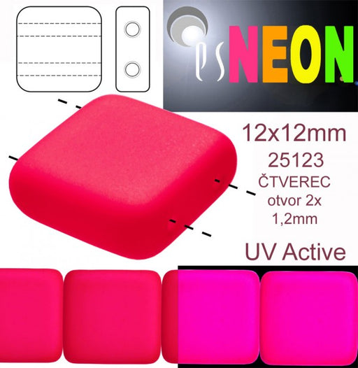 7 pcs 2-hole Tile NEON Beads, 12x12x4.5mm, Pink, Czech Glass