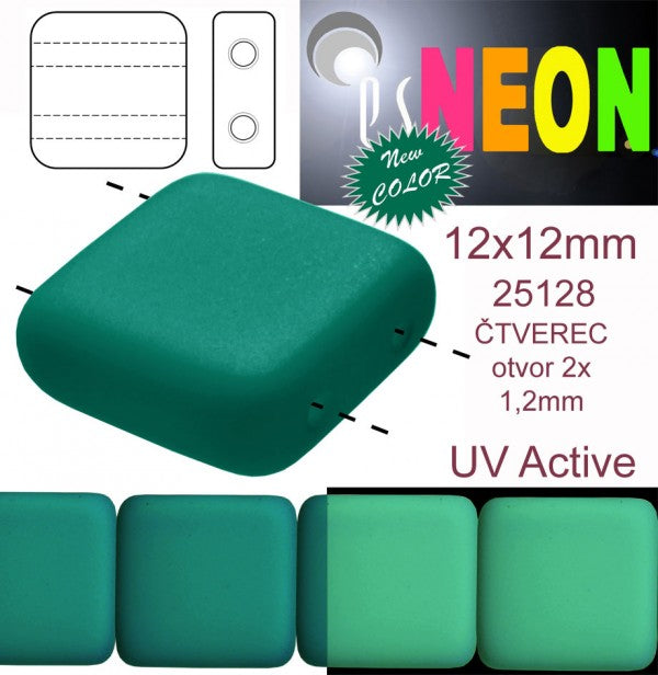 7 pcs 2-hole Tile NEON Beads, 12x12x4.5mm, Dark Green, Czech Glass