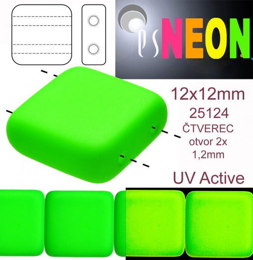 7 pcs 2-hole Tile NEON Beads, 12x12x4.5mm, Green, Czech Glass