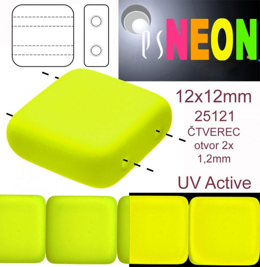 7 pcs 2-hole Tile NEON Beads, 12x12x4.5mm, Yellow, Czech Glass