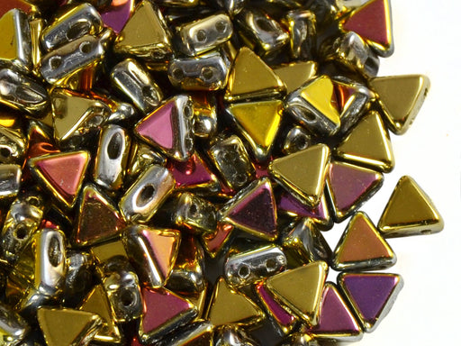 50 pcs Khéops® Par Puca® 2-hole Beads, Triangle 6mm, California Pink, Czech Glass