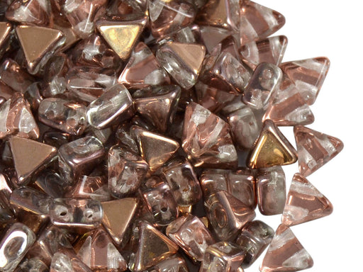 50 pcs Khéops® Par Puca® 2-hole Beads, Triangle 6mm, Crystal Capri Gold, Czech Glass