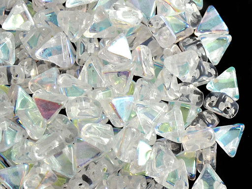 50 pcs Khéops® Par Puca® 2-hole Beads, Triangle 6mm, Crystal AB, Czech Glass
