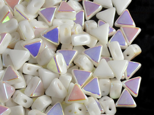 50 pcs Khéops® Par Puca® 2-hole Beads, Triangle 6mm, Opaque White AB, Czech Glass