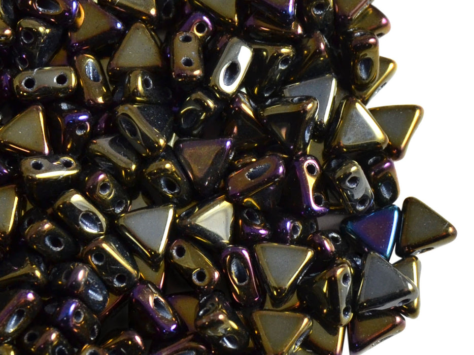 50 pcs Khéops® Par Puca® 2-hole Beads, Triangle 6mm, Jet Brown Iris, Czech Glass
