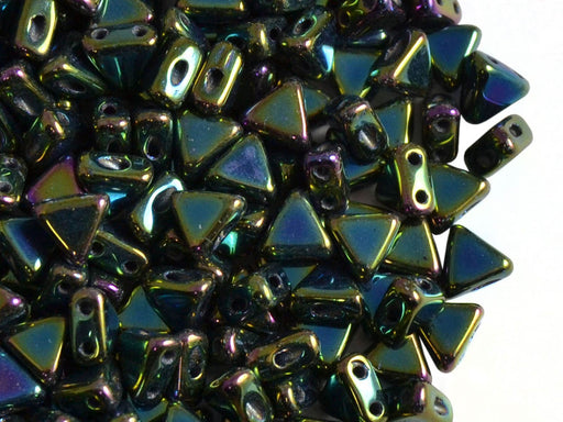 50 pcs Khéops® Par Puca® 2-hole Beads, Triangle 6mm, Jet Green Iris, Czech Glass