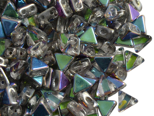 50 pcs Khéops® Par Puca® 2-hole Beads, Triangle 6mm, Crystal Blue Flare, Czech Glass