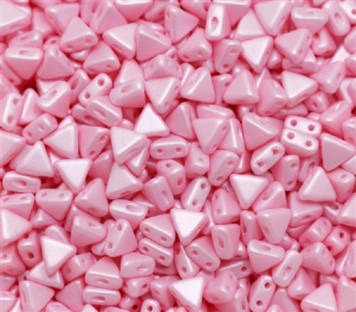 50 pcs Khéops® Par Puca® 2-hole Beads, Triangle 6mm, Pink Pearl, Czech Glass