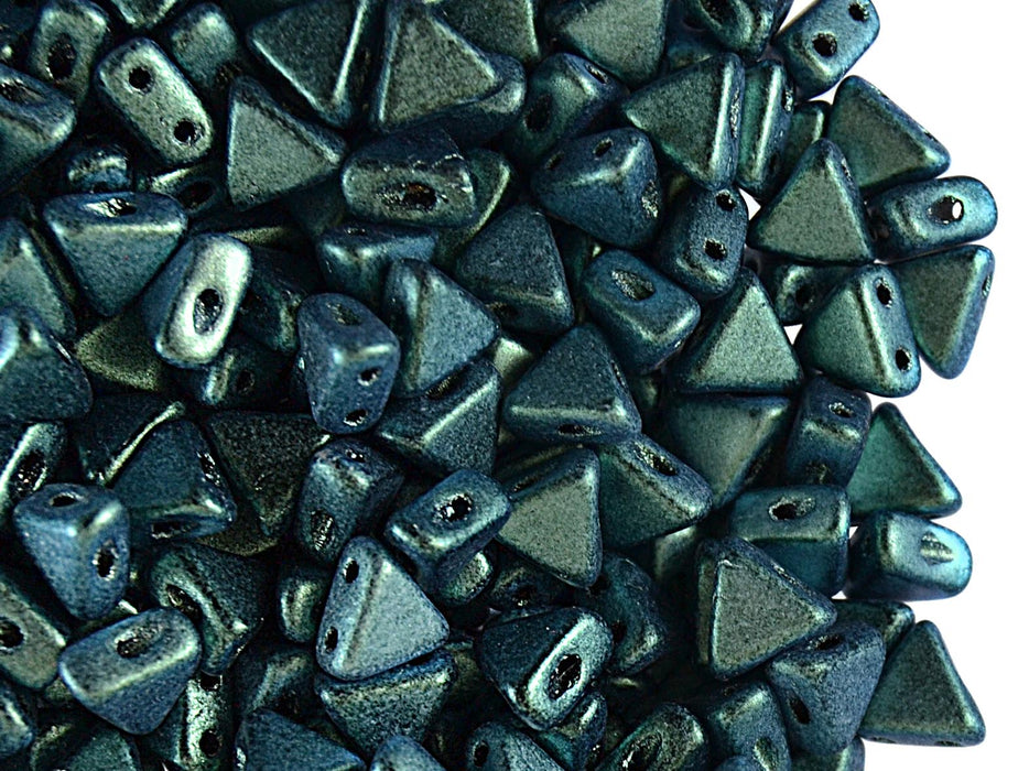 50 pcs Khéops® Par Puca® 2-hole Beads, Triangle 6mm, Metallic Mat Green Turquoise, Czech Glass