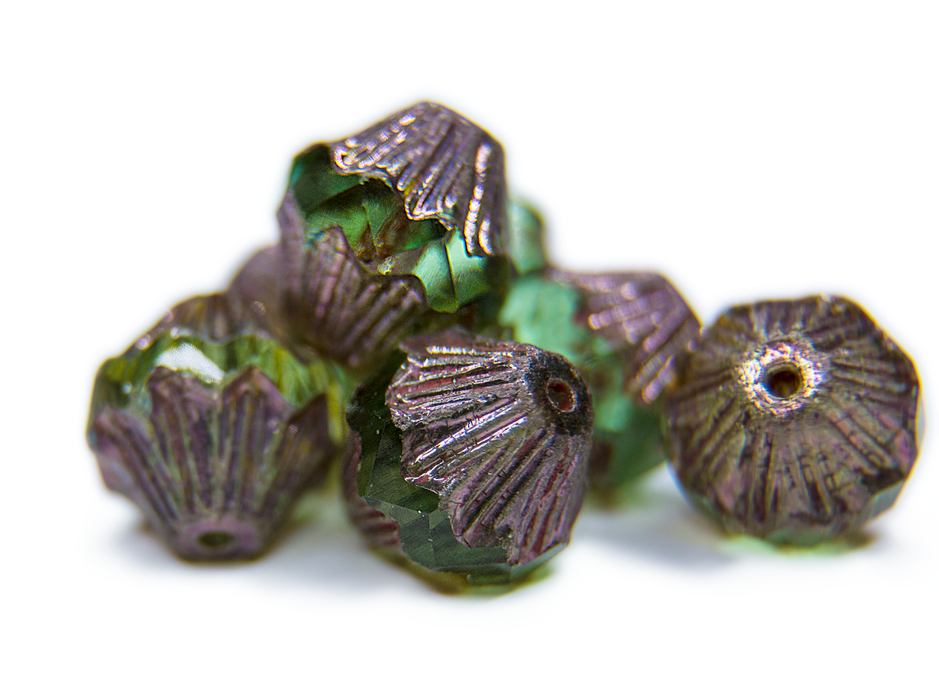 12 pcs Fire Polished Faceted Lantern Baroque Beads, 13x11mm, Peridot Green Golden Luster, Czech Glass
