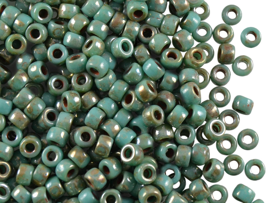 10 g 7/0 Seed Beads MATUBO, Turquoise Green Picasso, Czech Glass