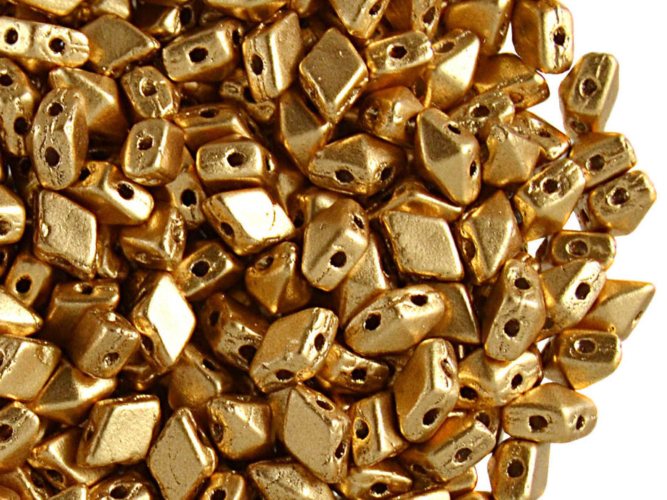 30 pcs 2-hole DiamonDuo™ Mini Beads 4x6mm, Dark Gold Matte, Czech Glass
