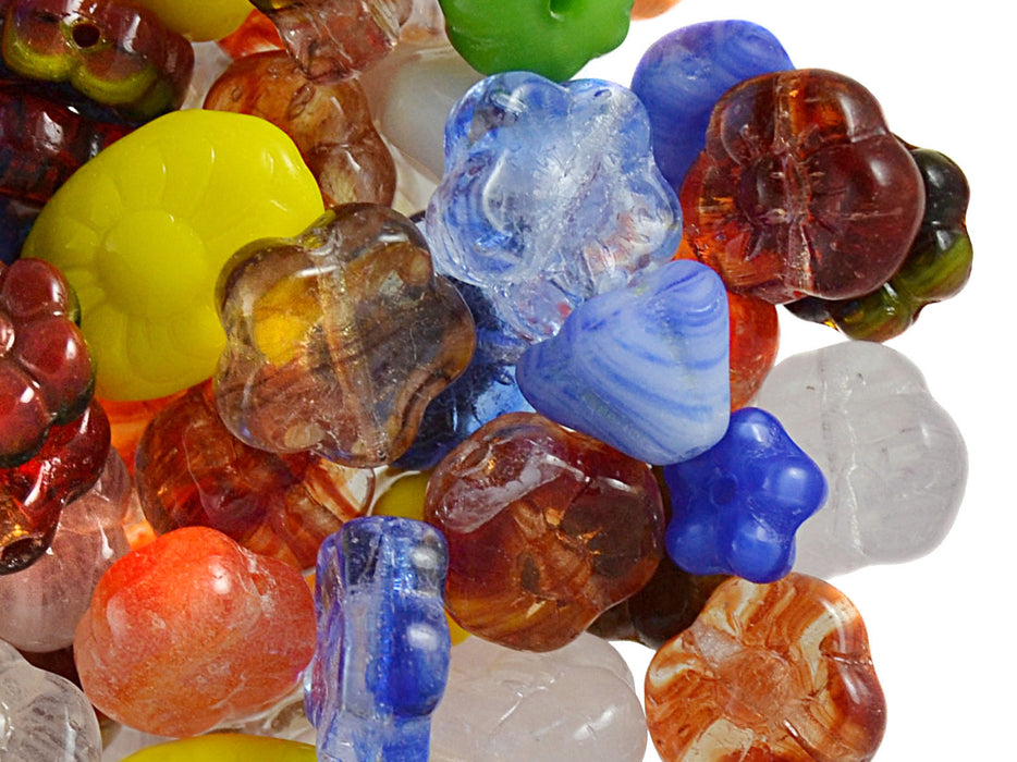 40 g Mix Beads, Various Shapes, Flowers, Czech Glass