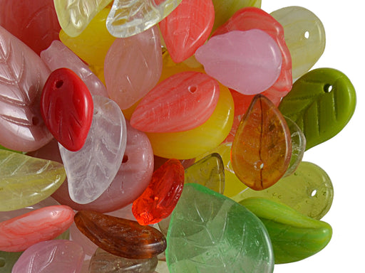40 g Mix Beads, Various Shapes, Leaflets, Czech Glass