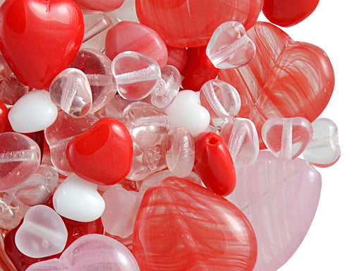 40 g Mix Beads, Various Shapes, Valentine, Czech Glass